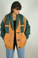 Load image into Gallery viewer, 80s Wool (Faux) Leather Bomber Jacket Oversized XL