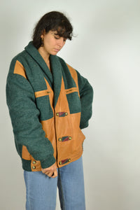 80s Wool (Faux) Leather Bomber Jacket Oversized XL