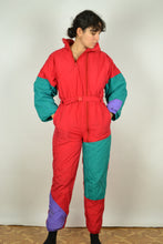 Load image into Gallery viewer, 80s 90s Colorblock Ski suit Medium M