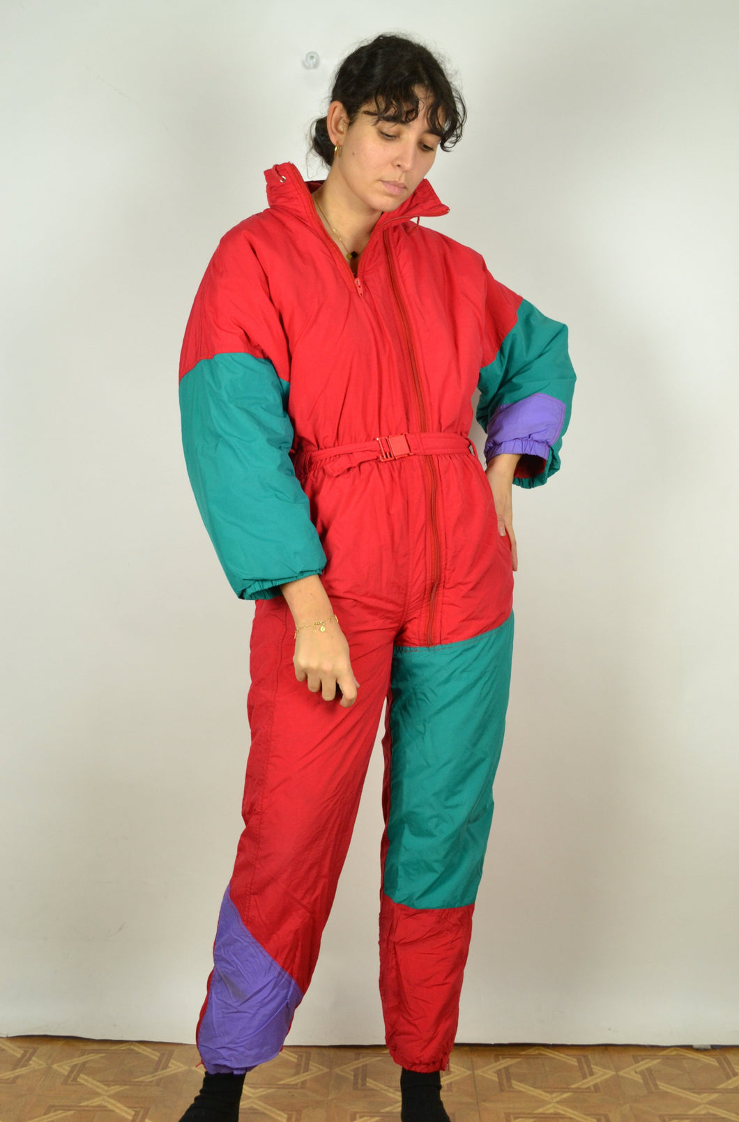 80s 90s Colorblock Ski suit Medium M