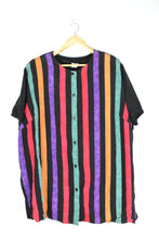 Load image into Gallery viewer, 80s colorful striped blouse XL