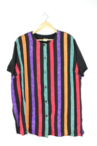 80s colorful striped blouse XL