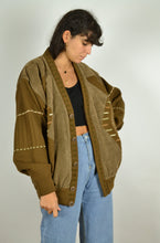 Load image into Gallery viewer, Brown Wool Bomber Jacket Large L