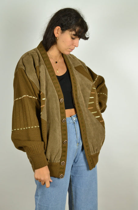 Brown Wool Bomber Jacket Large L