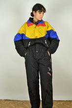 Load image into Gallery viewer, 90s One Piece Black Ski Suit Large L XL 1m80