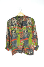 Load image into Gallery viewer, Tropical Print 80s Blouse M L