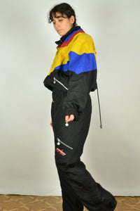 90s One Piece Black Ski Suit Large L XL 1m80