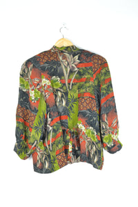 Tropical Print 80s Blouse M L