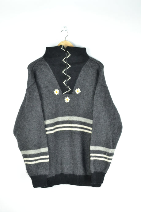 Half Zip Sweater Daisy Embroidery Large L