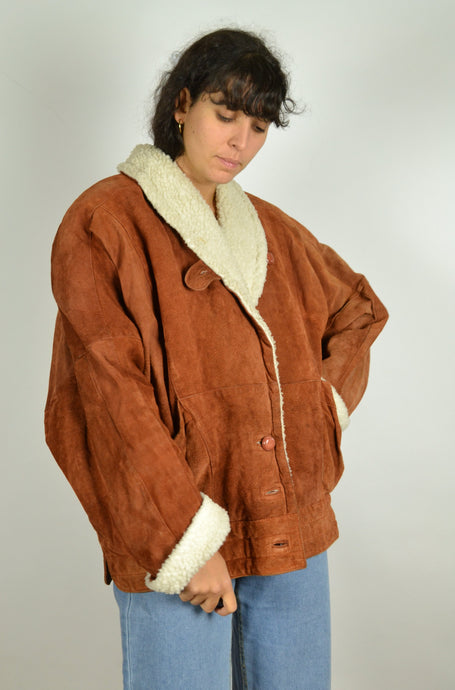 80s Winter Suede Lined Jacket Large L