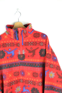 Soft Chunky 80s Red Fleece Sweater L XL