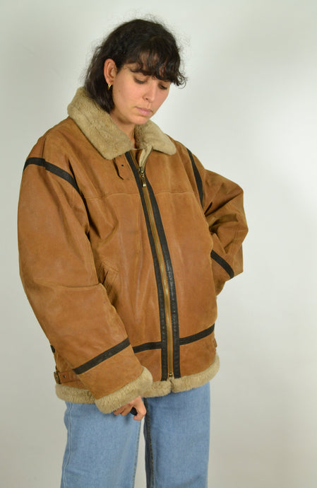 90s John F Gee Aviator Sheepskin Style Jacket XL