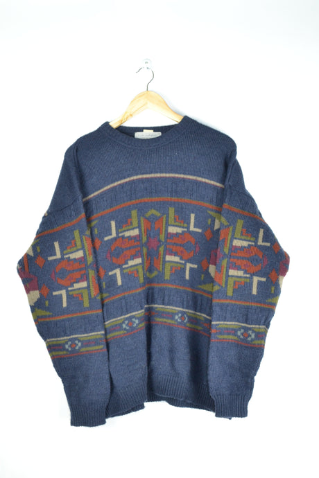 Vintage Abstract Patterns Wool Sweater Large XL
