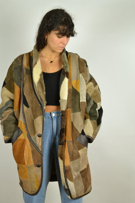 70s Patchwork Long Sheepskin Jacket Large L
