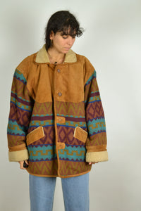 80s Long Aztec Navajo Winter Jacket Oversized XL XXL