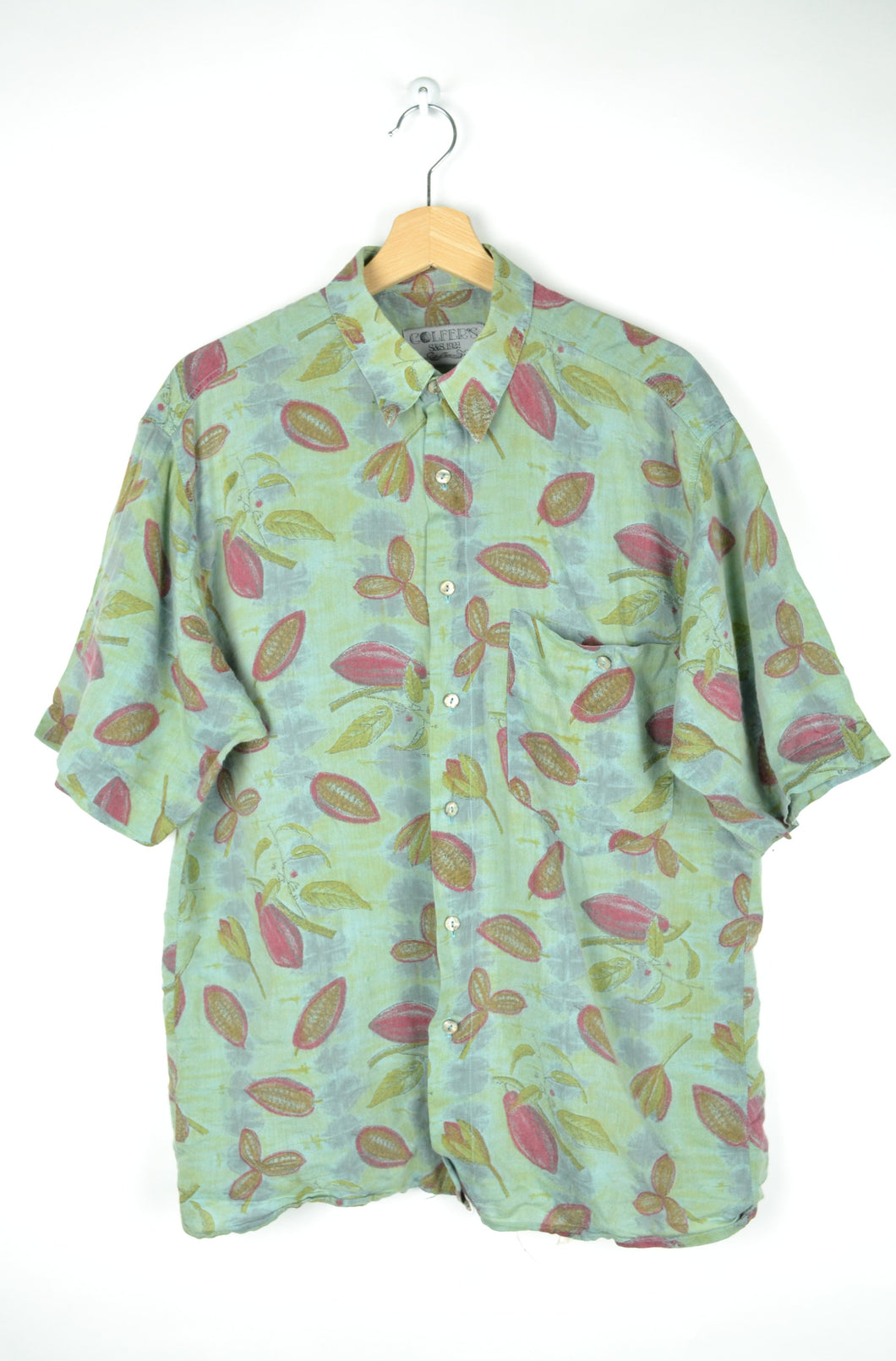 Pastel Green Light Summer Shirt with leaves print L