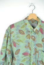 Load image into Gallery viewer, Pastel Green Light Summer Shirt with leaves print L