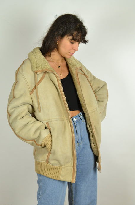 70s 80s Beige Cream Real Sheepskin Aviator Bomber Jacket Large L