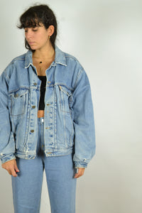 80s 90s Padded MUSTANG Denim Jacket Medium M