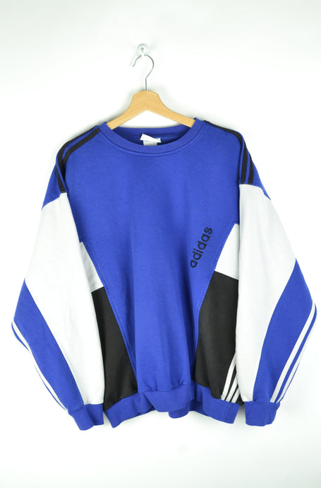 Adidas Blue/White/Black Crewneck Large L XL
