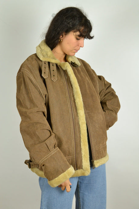 Y2K Aviator Lined Suede Bomber Jacket Large L