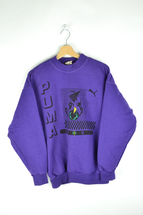 80s Purple Puma Sweatshirt S M