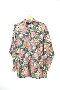 70s Flower patterned Long Sleeved Shirt L