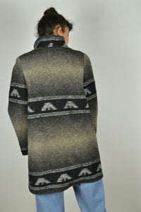 80s Long Fitted Patterned Wool Jacket S M