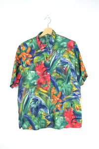 Cute 80s Tropical Blouse Medium M