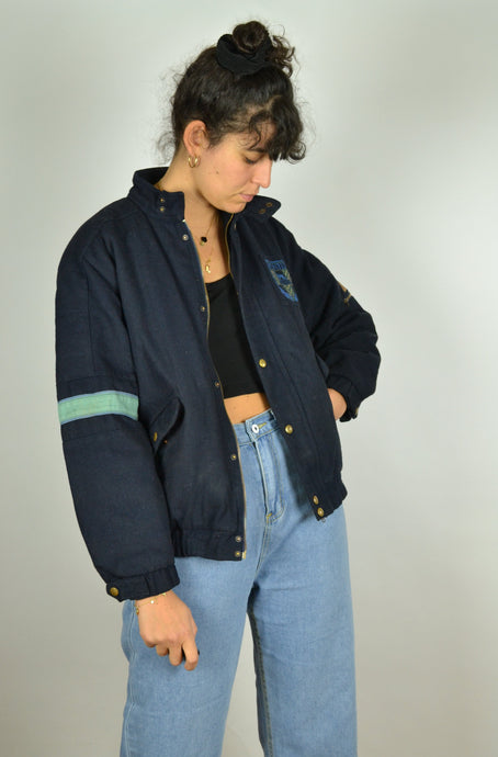 80s 90s Teddy Bomber Jacket Small S XS