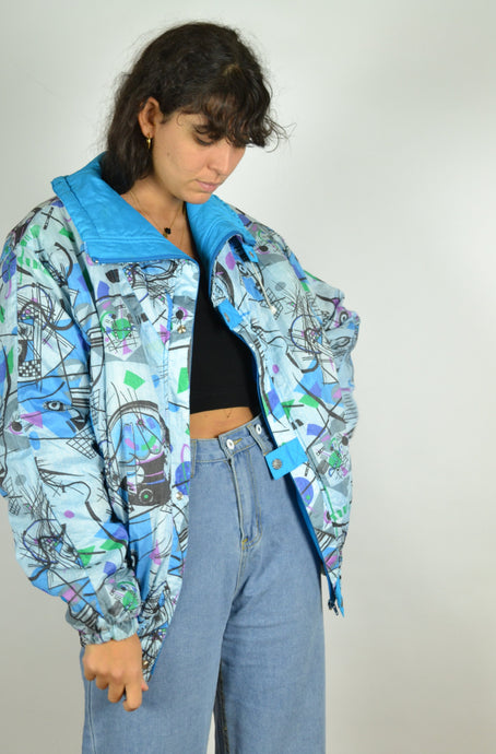 80s Blue Ski Bomber Jacket Medium M