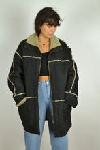 Load image into Gallery viewer, 70s Real Sheepskin Shearling Black Coat Medium M