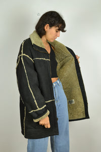 70s Real Sheepskin Shearling Black Coat Medium M