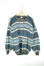 Load image into Gallery viewer, 80s Patterned Oversized Sweater - Blue Gey - Size L XL