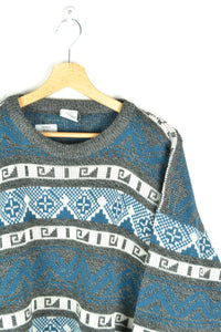 80s Patterned Oversized Sweater - Blue Gey - Size L XL