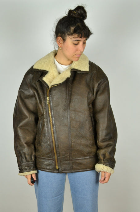 70s Real Brown Aviator Sheepskin Jacket Large L