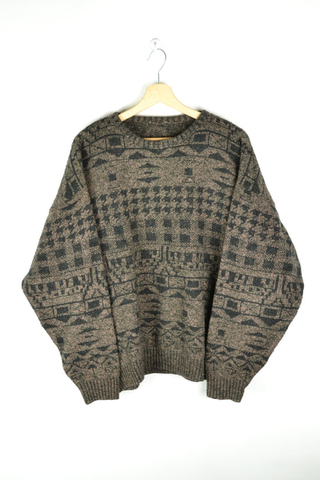Vintage Patterned Brown Wool Sweater Large L