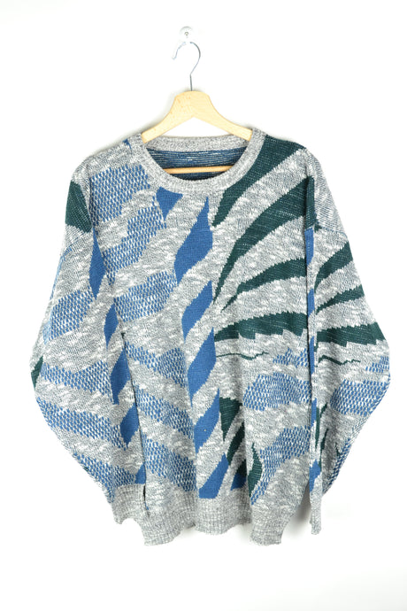 Vintage Patterned Sweater Large L