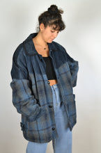 Load image into Gallery viewer, 80s Mix wool and Suede Blue Jacket 2XL