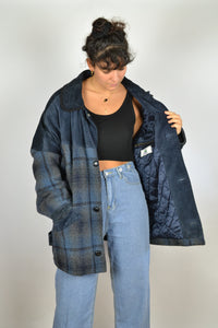 80s Mix wool and Suede Blue Jacket 2XL