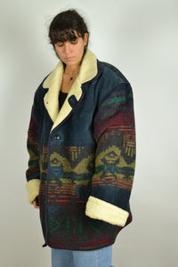 80s Long Winter Suede Jacket Aztec Navajo 2XL