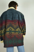 Load image into Gallery viewer, 80s Long Winter Suede Jacket Aztec Navajo 2XL