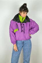 Load image into Gallery viewer, 80s Winter Sport Half Zip Jacket Purple Medium M S