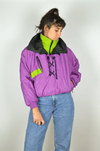 80s Winter Sport Half Zip Jacket Purple Medium M S