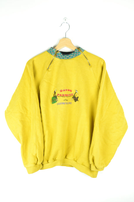 80s St Oliver Yellow High Neck Sweatshirt Hiking Large L