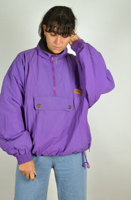 80s Purple Half Zip Jacket Large L