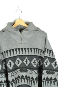 Vintage 90s - Patterned Oversized Half Zip Sweater - Size 2XL