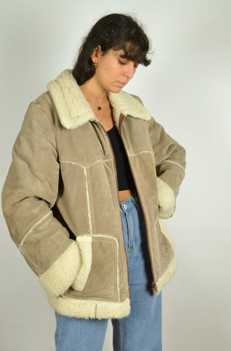 70s Real Shearling Sheepskin Winter Jacket Medium M