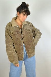 Faux Shearling Lined Brown Corduroy Jacket Medium M