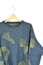 Load image into Gallery viewer, Vintage 80s - Abstract patterns Sweater - Blue/Green - Size M